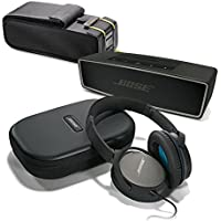 Bose QuietComfort 25 Black Over-Ear Noise Cancelling Headphones for Samsung and Android Devices, with Carbon SoundLink Mini II & Protective Bag - Travel Bundle