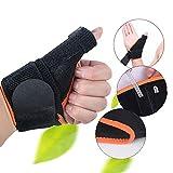 Denshine Adjustable Arthritis Thumb Splint Support Brace Outfield Glove for Pain, Sprains, Strains, Arthritis, Carpal Tunnel & Trigger Thumb Immobilizer, Wrist Strap, 1 Pair, Black & Orange