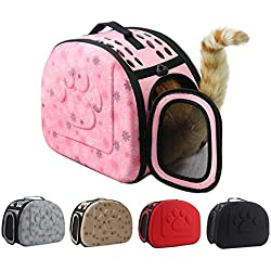 Carrier Bag Portable Cats Handbag Foldable Travel Bag Puppy Carrying Mesh Shoulder Pet Bags,s 35.5x23cm Gray