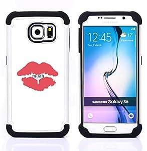 """Hypernova Híbrido Heavy Duty armadura cubierta silicona prueba golpes Funda caso resistente Para Samsung Galaxy S6 / SM-G920 [Beso Labios rojos minimalista Blancas""""]"""