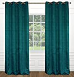 Cheap LJ Home Fashions Raindrops Abstract Floral Crushed Fabric Grommet Curtain Panels (Set of 2) 54×95-in, Teal Blue