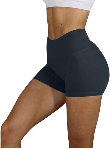 Women High Waisted Yoga Shorts Butt Lifting Ruched Yoga Running Short Tummy Control Leggings