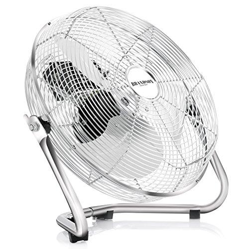 Brandson Windmaschine / Retro-Stil Ventilator in Chrom | Standventilator 35cm | Tischventilator / Bodenventilator | hoher Luftdurchsatz | robuster Stand | stufenlos neigbarer Ventilatorkopf | stabiles Schutzgitter| inkl. Tragegriff | relativ leises Betriebsgeräusch | aus Vollmetall (verchromt)