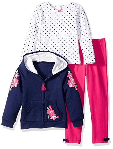 Little Me Girls' 3 Piece Hoodie Set, Floral Embroidery, 12M