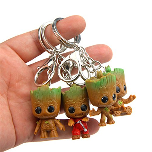 MLM Pocket POP Keychain Guardians of the Galaxy: Rocket Raccoon Groot and Baby Dancing Groot Set of 4 - Key Ring Clip - Groot Baby Keychain