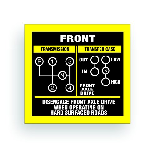 Transmission Shift Pattern Decal - Jeep, Willys Or CJ May Fit Transmission And Transfer Case Models T10, 4 Speed, twin Stick - 3x2.75 inch