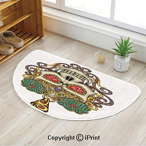 LEFEDZYLJHGO Half Circle Mat for Front Door Inside Floor Dirt Entrance Rug,Sugar Skull with Heart Pendants Floral Colorful Design Print Decorative,39