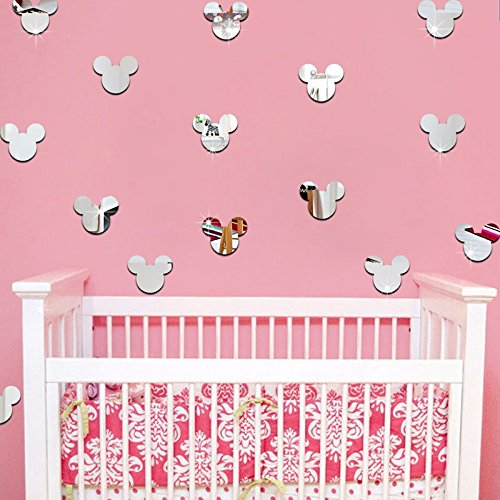 - 20PCS Of Mirror Wall Stickers Cute Mickey Mouse Crystal Mirror Stickers Acrylic 3D Decorative Stickers For Kids Room Nursery Deco (Silver)