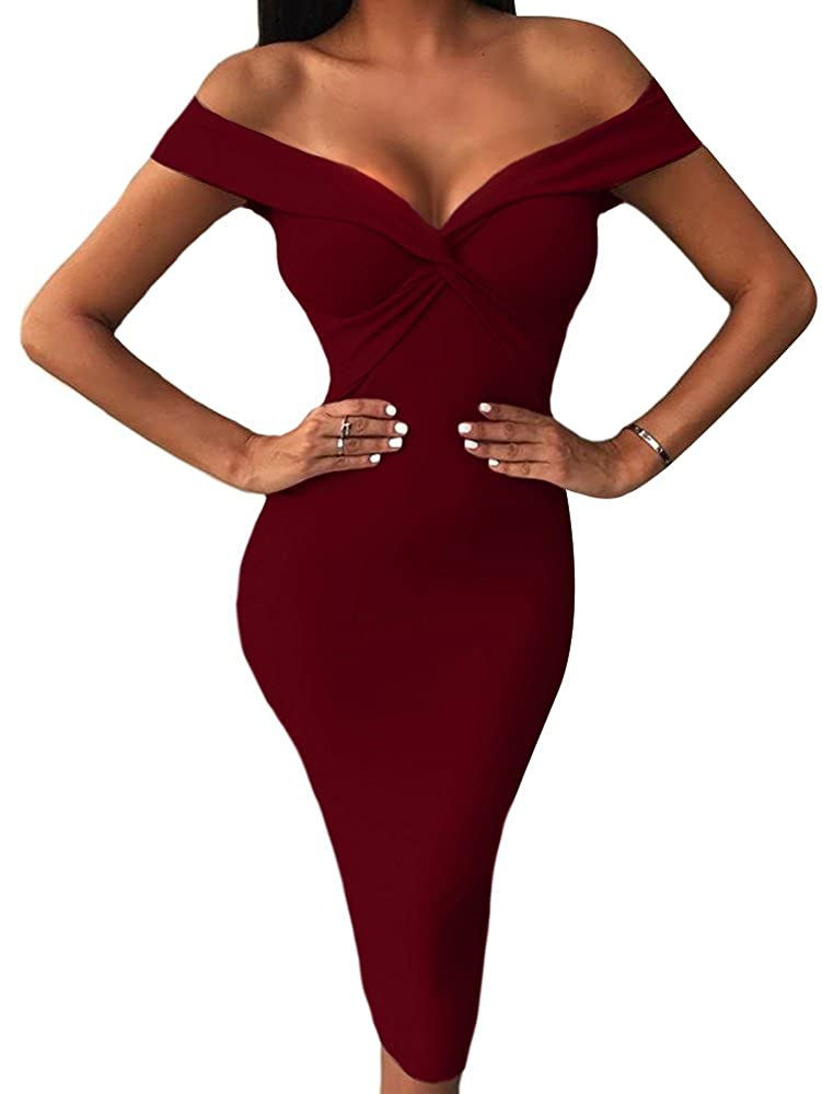 Wine Red BEAGIMEG Women's Sexy Draped V Neck Off Shoulder Bodycon Midi Party Dress