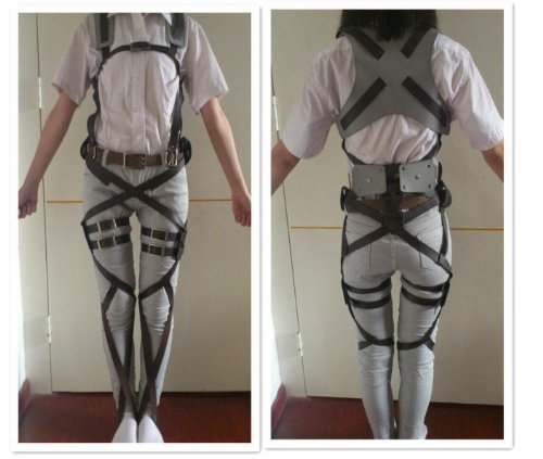 No Costume (1 X Cosplay Attack on Titan Shingeki no Kyojin Recon Corps Belt Hookshot Costume)