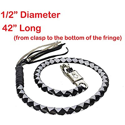 "42"" Long 1/2"" Diameter Silver & Black Motorcycle Get Back Whip Real Soft Genuine Leather"