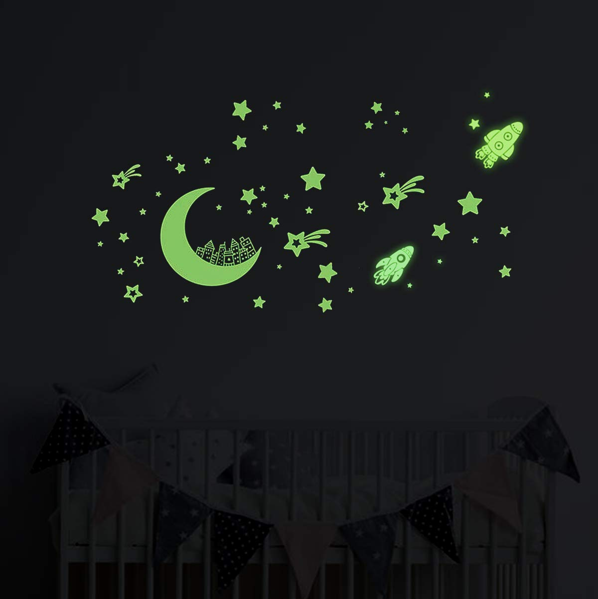 Glow in The Dark Stars Wall Stickers, Glowing Stars for Ceiling and Wall Decals, Perfect for Kids Bedding Room or Party Birthday Gift