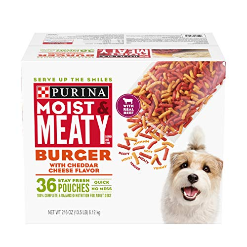 Purina Moist & Meaty Dry Dog Food, Burger with Cheddar Cheese Flavor – 36 ct. Pouch