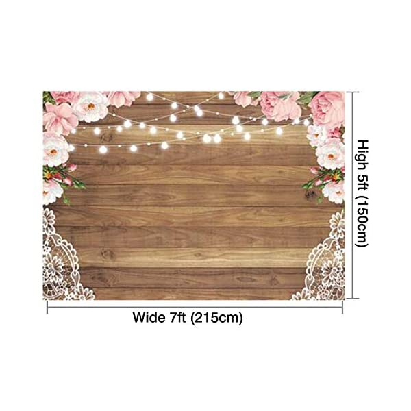 Funnytree 8x8ft Soft Fabric Flowers Wood Lace Rustic Backdrop Durable Wrinkles Free Wedding Floral Floor Photography Background Bachelorette Party Bridal Shower Baby Birthday Banner Photo Studio