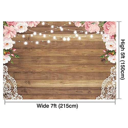 Funnytree 7X5ft Soft Fabric Flowers Wood Lace Rustic Backdrop Durable No Wrinkle Wedding Floral Photography Background Wooden Board Floor Bridal Shower Baby Birthday Party Banner Photo Studio Props by Funnytree (Image #2)