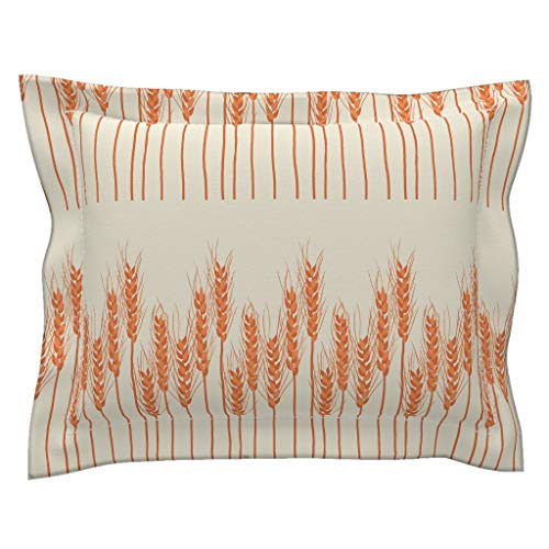 Roostery Autumn Flanged Pillow Sham Rustic Fall Decor Red Orange Harvest Thanksgiving Decor Vibrant by Christina Steward 100% Cotton - Standard Sham Christina