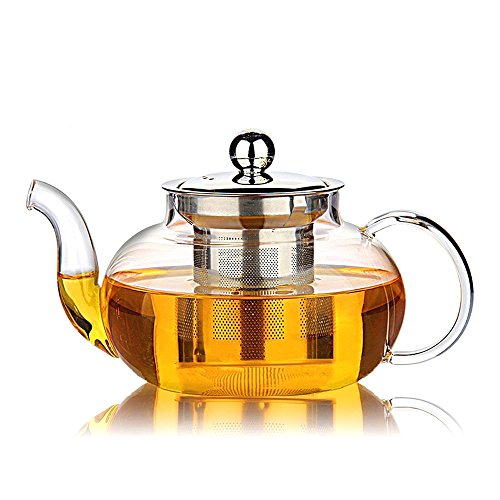 Large Jade Glass (Hiware Good Glass Teapot with Stainless Steel Infuser & Lid, Borosilicate Glass Tea Pots Stovetop Safe, 27 Ounce / 800 ml)