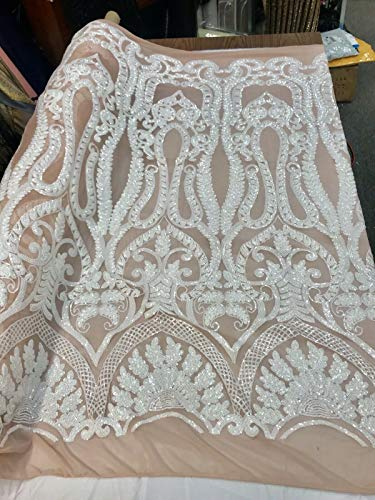 - WHITE SEQUINS DIVA DESIGN ON A 4 WAY STRETCH BLUSH NUDE MESH-1YARD