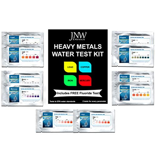 JNW Direct Heavy Metals Test - Drinking Water Testing Kit for Lead, Iron, Copper and Mercury, Includes Free Fluoride Test, Best Kit for Accurate Water Quality Testing at ()