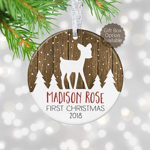 Personalized Baby's First Christmas Ornament 2019, Baby Shower Gift for New Baby, Rustic Newborn Christmas Gift - 3