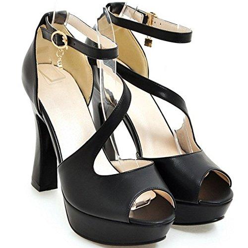 COOLCEPT Mujer Moda Al Tobillo Sandalias Peep Toe Plataforma Tacon Ancho Zapatos Negro