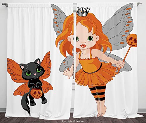 Rod Pocket Curtain Panel Polyester Translucent Curtains for Bedroom Living Room Dorm Kitchen Cafe/2 Curtain Panels/108 x 90 Inch/Halloween,Halloween Baby Fairy and Her Cat in Costumes Butterflies -