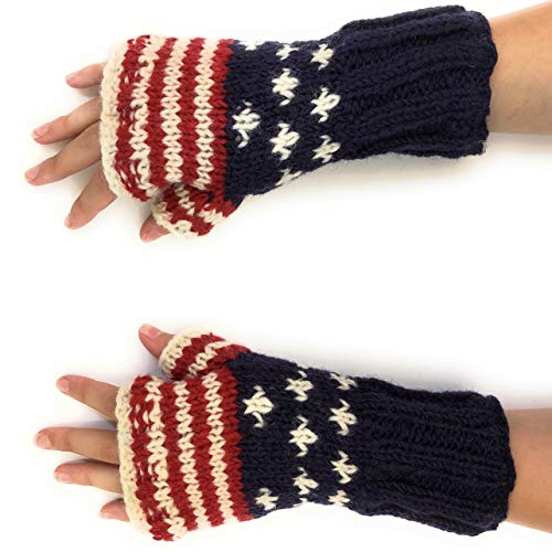 Hand Knit American Flag Winter Wool Texting Gloves Mittens Warm Fleece Lined (Fingerless Gloves) -