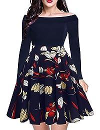 Women's Long Sleeve Vintage Off Shoulder Cocktail Floral A-Line Flare Swing Dress