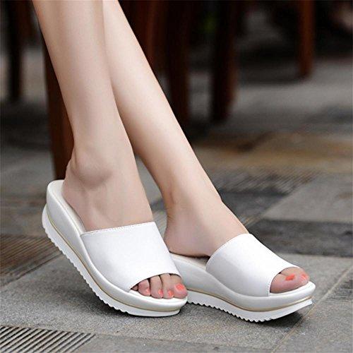 Heart&M Casual antideslizante suela plana tacón de cuña de talón mollete sandalias color sólido zapatillas de moda de las mujeres White