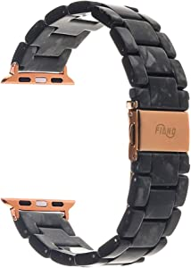 Resin Watch Band,FIANO Fashion Replacement Wristband Strap Compatible with Apple iWatch Series 6/5/4/3/2/1 with Stainless Steel Buckle Strap Women Men (Flash Black, 42 mm)