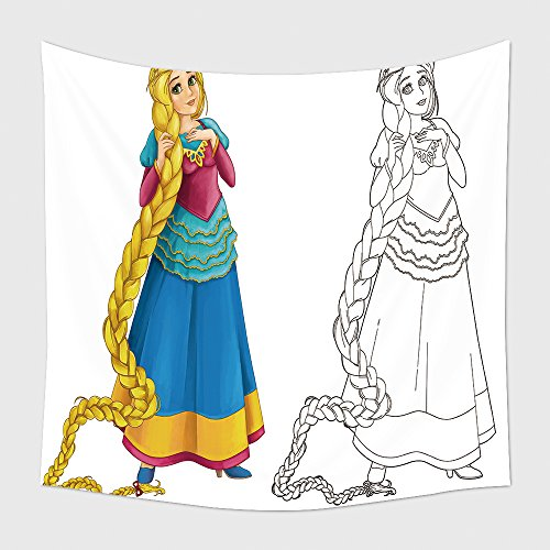 Home Decor Tapestry Wall Hanging Cartoon Beautiful Girl Smiling Isolated With Coloring Page Illustration For Children 416322580 for Bedroom Living Room Dorm (Halloween Grid Coloring Pages)