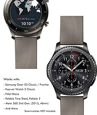 22mm Watch Band Quick Release (Samsung Gear S3 Frontier/Classic / Fitbit Blaze / Pebble 2, Time Steel), Truffol Metal/Leather Straps