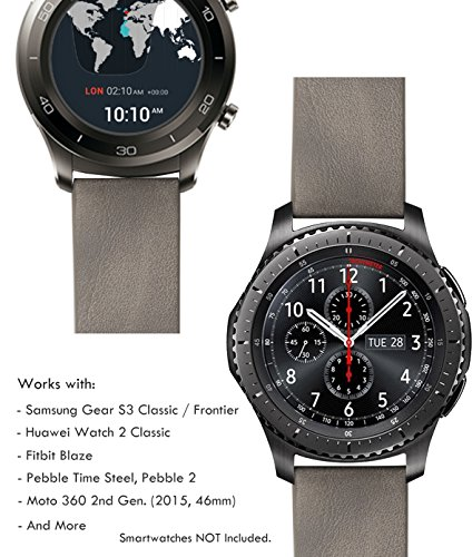 Diesel Buckle Closure Belt (Truffol 22mm Leather Band for Samsung Gear S3 Frontier & Classic, Fitbit Blaze, Huawei Watch 2 Classic - Quick Release Genuine Leather Strap Wristband (Vintage)