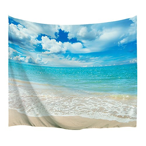 XINYI Home Wall Hanging Nature Art Polyester Fabric Sea Beach Theme Tapestry, Wall Decor for Dorm Room, Bedroom, Living Room, Nail Included - 90