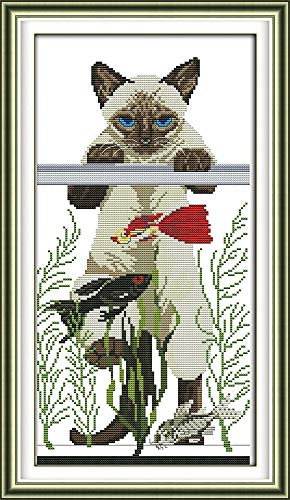 CaptainCrafts New Cross Stitch Kits Patterns Embroidery Kit - The Cat's Favorite Fish (STAMPED)