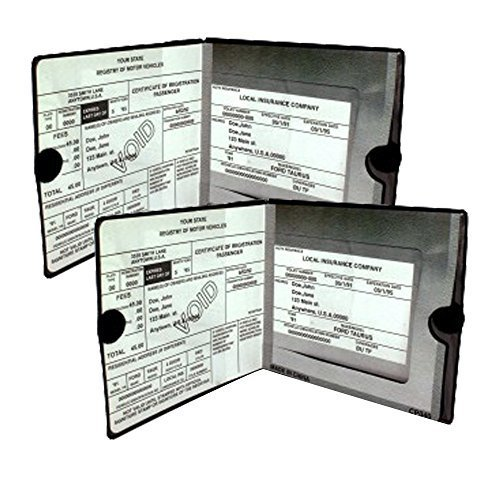 ESSENTIAL Car Auto Insurance Registration BLACK Document Wallet Holders 2 Pack - [BUNDLE, 2pcs] - Automobile, Motorcycle, Truck, Trailer Vinyl ID Holder & Visor Storage - Strong Closure On Each - Necessary in Every Vehicle - 2 Pack (Auto Visor Organizer)