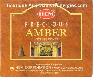 Hem Incense-Cones/Precious Amber(12 BOXES/10) / Cones-ENCENS Hem/Ambre PRÉCIEUSE(12 BOITES/10) HEM QUALITY