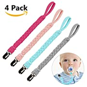 Pacifier Clip for Boys and Girls - Teething Ring Holder by Hombae - Baby Universal Pacifier Holder for All Styles Pacifiers, Teething Toys Or Soothie, Hand-Made Braided Pacifier Clips (4 Pack)