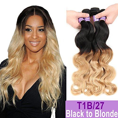 Ombre Brazilian Hair Body Wave Bundles 4pcs,Ombre Brazilian Virgin Hair Human Hair Weave Two Tone Black to Blonde (T1B/27,18'' 20'' 22'' 24'') by Kapelli Hair