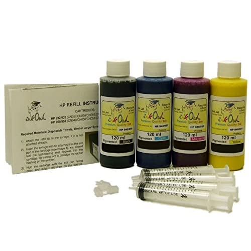 InkOwl - 4x120ml Pigment Refill Kit for HP 932, 933, 950, 951 cartridges