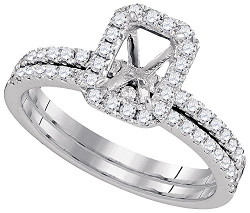 Size - 7 - Solid 18k White Gold Round White Diamond Bridal Semi-Mount Engagement Ring with Matching Wedding Band (.46 cttw)