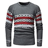 kaifongfu Men Sweater for Autumn and Winter with Printed Knit Pullover Tops(Gray,XXL)