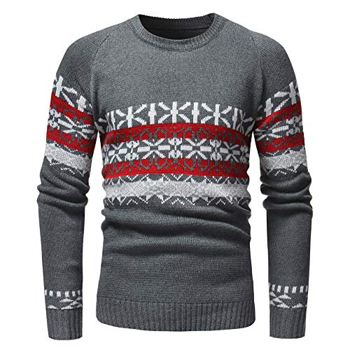 kaifongfu Men Sweater for Autumn and Winter with Printed Knit Pullover Tops(Gray,XXL) by kaifongfu-mens clothes