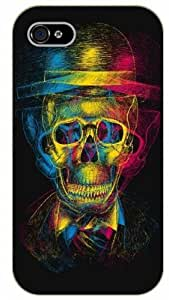 iPhone 4 / 4s Colorful skull with hat - black plastic case / hipster, tribal