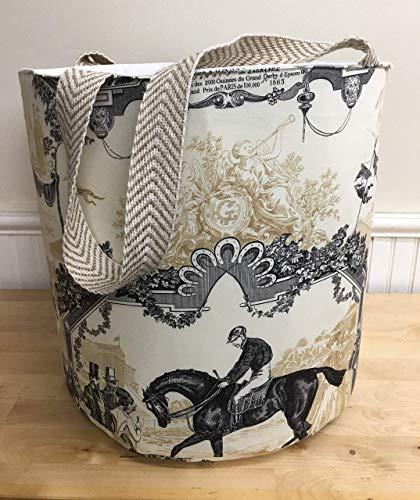 - Barrel Bag with Handles - Black & White with Horses - Toile Du Jouy - Large Tote, Farmers Market Bag, Hamper Bag, Storage Bag, Craft Storage, Toy Storage Bag