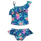 TIAOBU Girls Floral Spaghetti Swimwear One Shoulder Brief Skirt Tankini Swimsuit