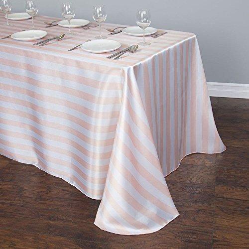 90 x 156 in. Rectangular Blush Pink & White Striped Satin -