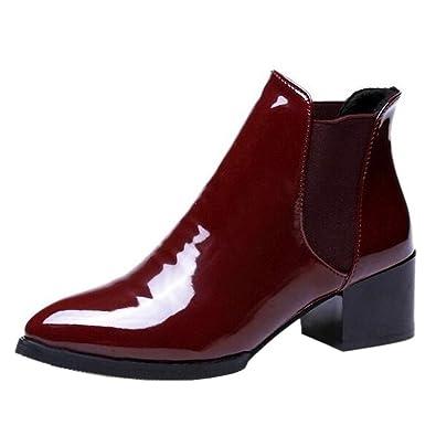 ecec7638bf16ae Binying Boots Chelsea Femme Bout Pointu Bloc a Enfiler Vernis: Amazon.fr:  Chaussures et Sacs