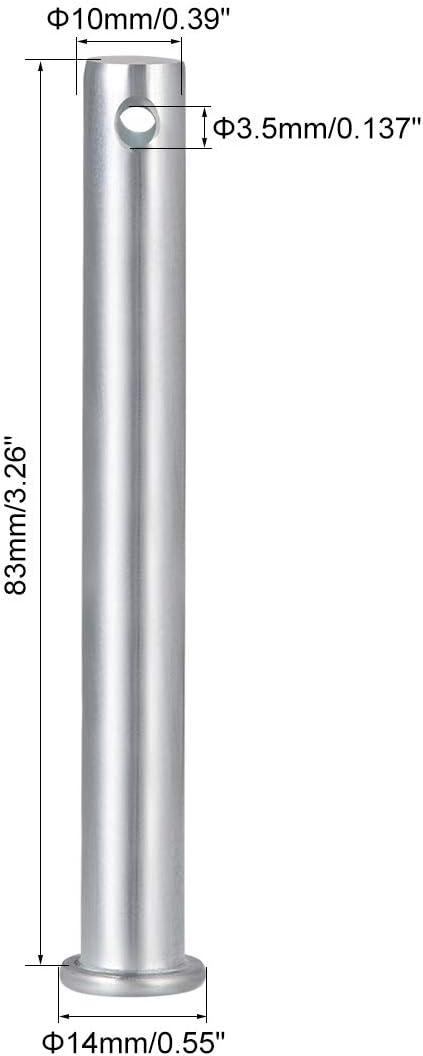 acero galvanizado de cabeza plana de 5 mm x 20 mm 10 piezas sourcing map pasadores de horquilla de un solo orificio