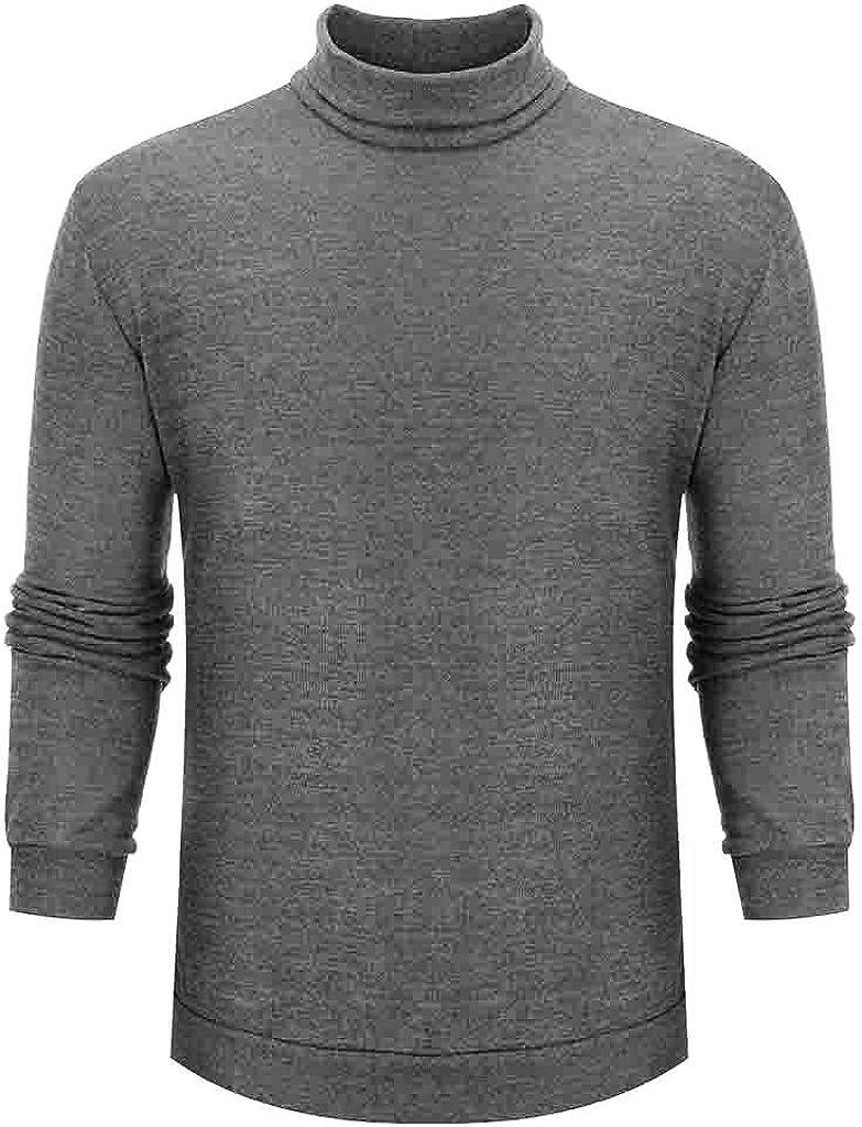 waotier Camisetas Hombre Cuello de Tortuga Camisa Inferior Suéter ...